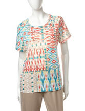 Alfred Dunner Petite Patchwork Print Knit Top