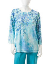Alfred Dunner Petite Floral Butterfly Print Top