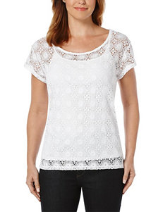 Rafaella Petite Floral Lace Overlay Top
