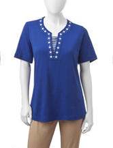 Cathy Daniels Petite Nautical Embroidered Top