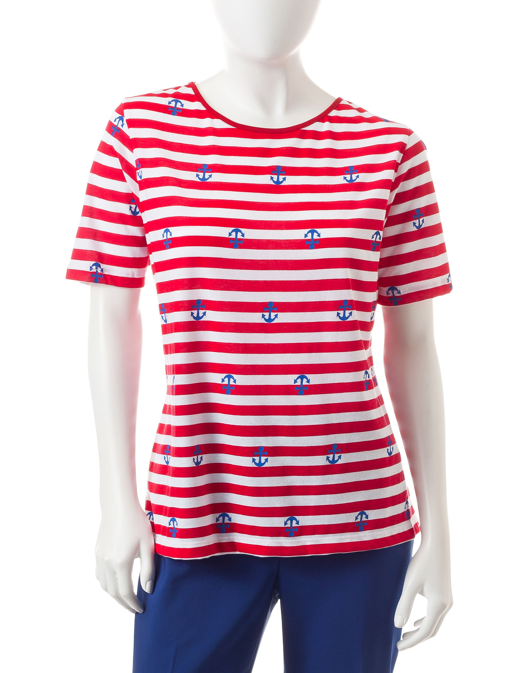 Cathy Daniels Red / White Tees & Tanks