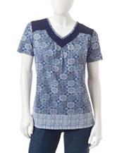 Rebecca Malone Petite Border Print Crochet Top