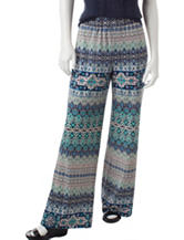 NY Collection Petite Multicolor Biadere Print Pull-On Pants