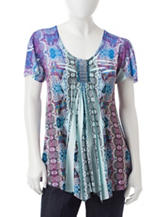 Energé Petite Embellished Mixed Print Top