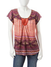 Energe Petite Mixed Print Crochet Top