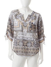 Energé Petite Abstract Print Embellished Top