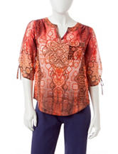 Energe Petite Abstract Print Embellished Top