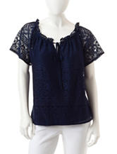 NY Collection Petite Lace Peasant Top