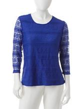 Cathy Daniels Petite Lace Knit Top