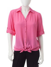 Cathy Daniels Petite Lace Accent Woven Top