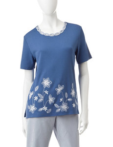 Alfred Dunner Petite Floral Embroidered Knit Top