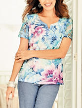 Alfred Dunner Petite Tropical Print Lace Knit Top