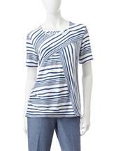 Alfred Dunner Petite Spliced Stripe Embellished Top