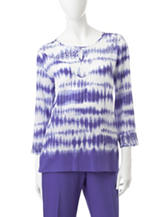 Alfred Dunner Petite Tie Dye Knit Top