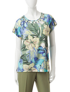 Alfred Dunner Petite Tropical Print Knit Top