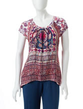 Valerie Stevens Petite Mixed Print Lace Detail Top