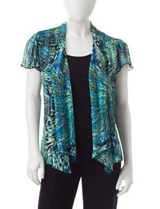 Rebecca Malone Petite Abstract Animal Print Layered-Look Top