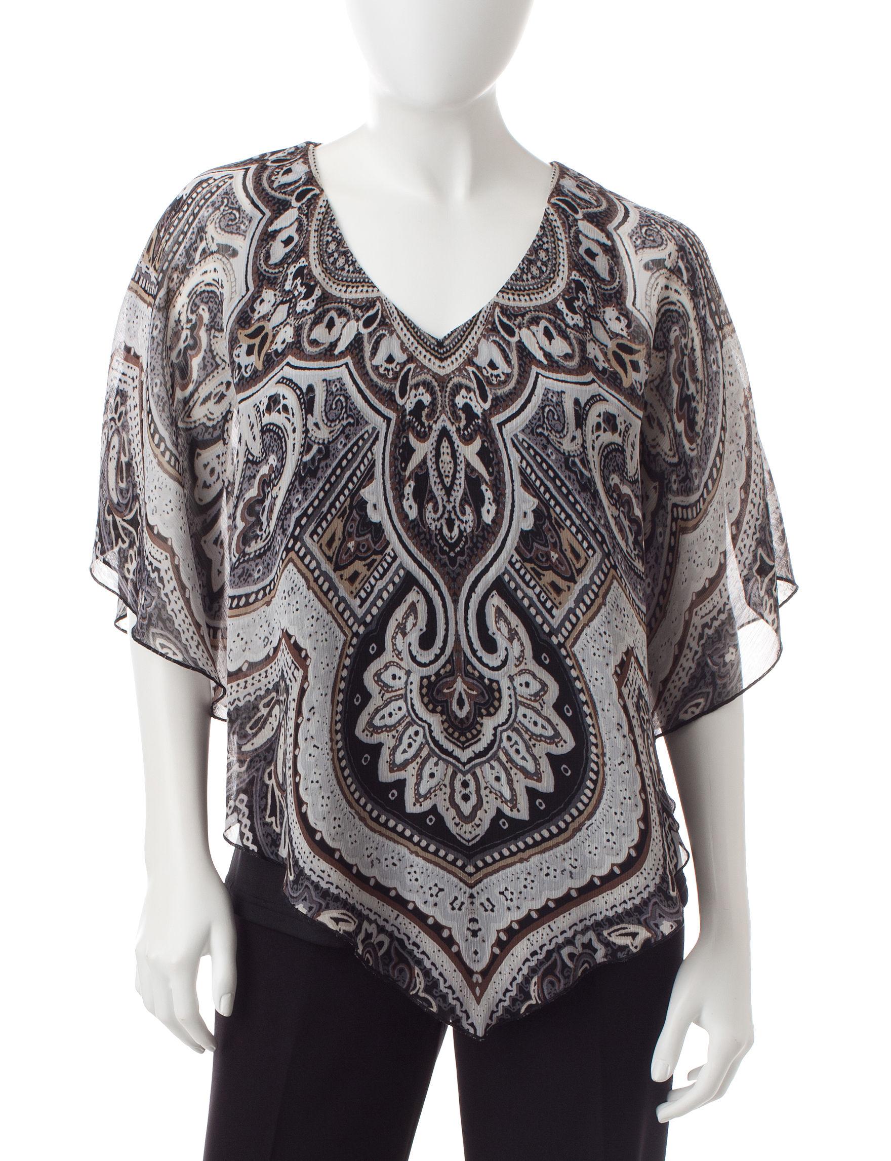 Rebecca Malone Black / Brown Shirts & Blouses