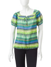 Rebecca Malone Petite Abstract Print Woven Top