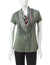 Energé Petite Green Knit Top & Fringe Scarf Set