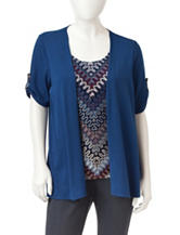 NY Collection Petite Chevron Print Layered-Look Top
