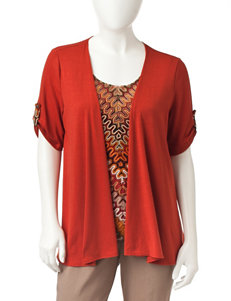 NY Collection Red Shirts & Blouses