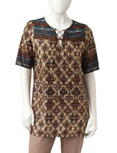 NY Collection Petite Medallion Print Lace Up Top