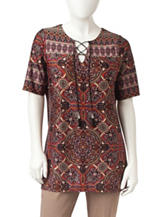 NY Collection Petite Moraccan Print Lace Up Top