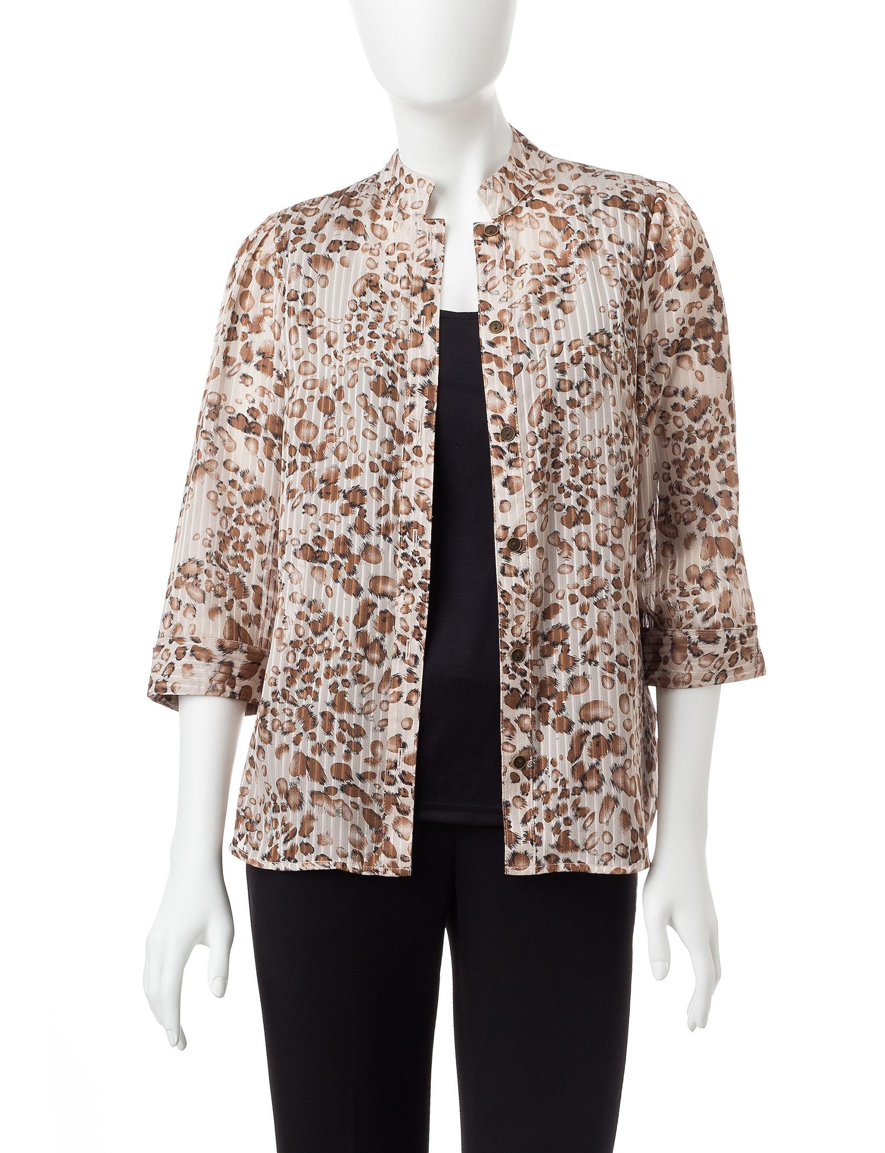 Rebecca Malone Taupe / Chocolate Shirts & Blouses