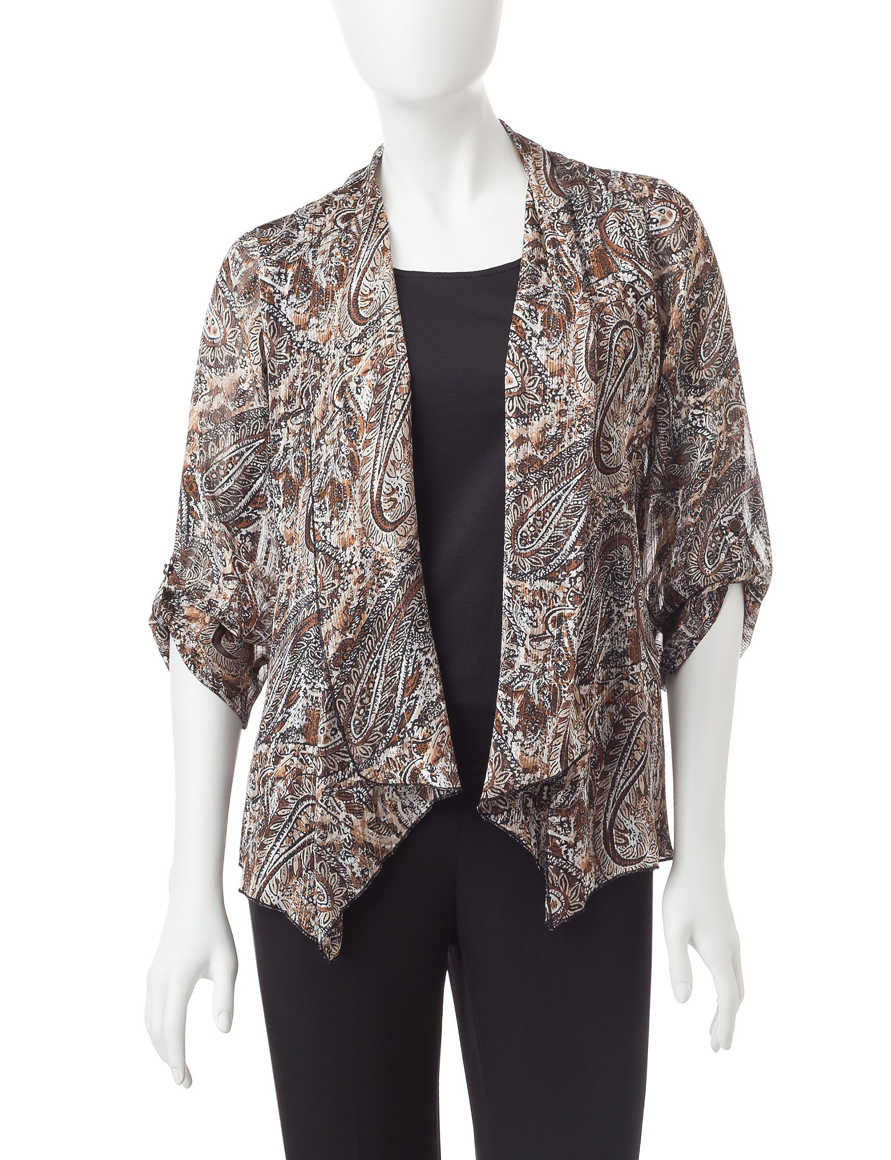 Rebecca Malone Black / Tan Shirts & Blouses
