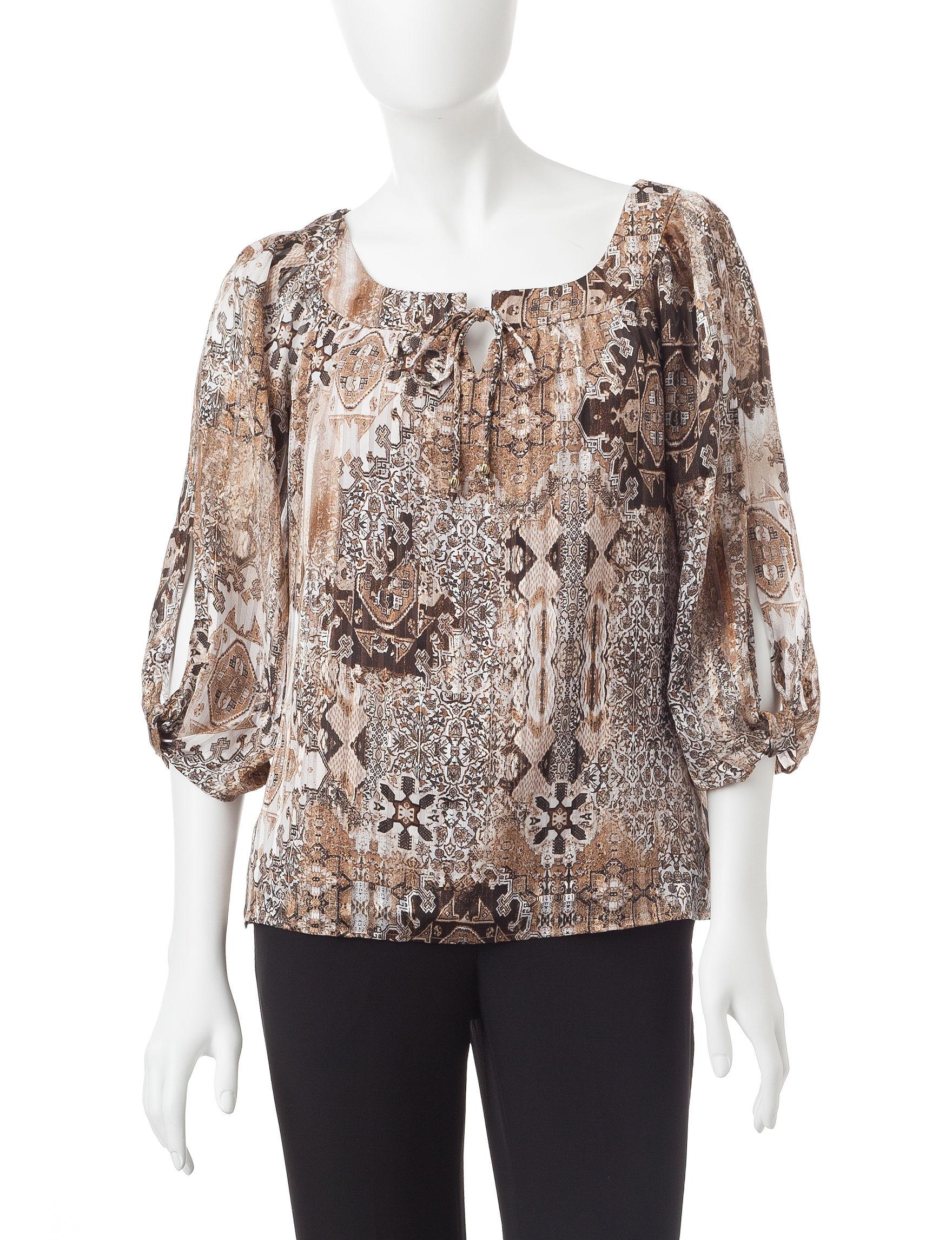 Rebecca Malone Black / Beige Shirts & Blouses