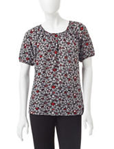 Rebecca Malone Petite Abstract Print Embellished Top