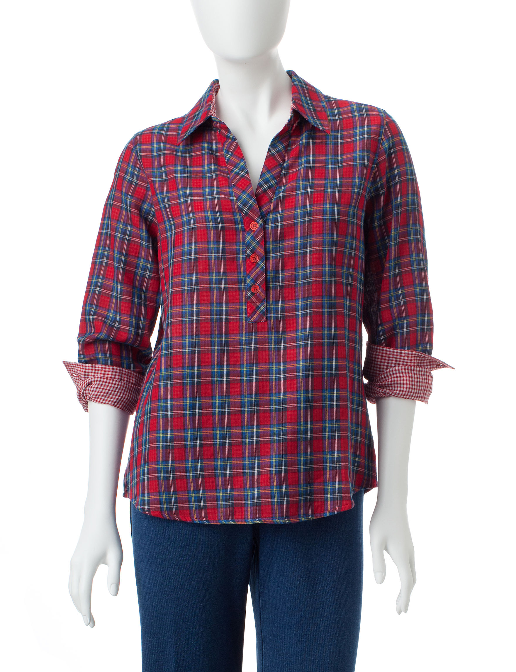 Cathy Daniels Plaid Shirts & Blouses