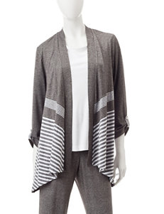 Alfred Dunner Petite Striped Print Cardigan Top