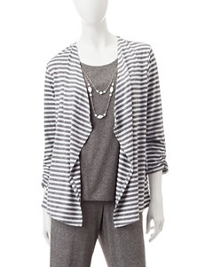 Alfred Dunner Petite Striped Print Layered-Look Top