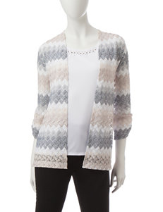 Alfred Dunner Petite Chevron Print Layered-Look Top