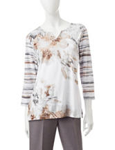 Alfred Dunner Petite Striped Floral Print Top
