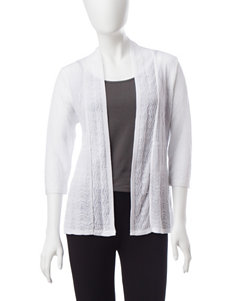 NY Collection White Cardigans