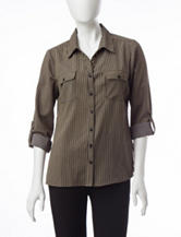 NY Collection Petite Utility Striped Print Top