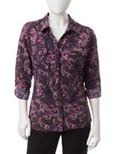 NY Collection Petite Paisley Print Utility Top