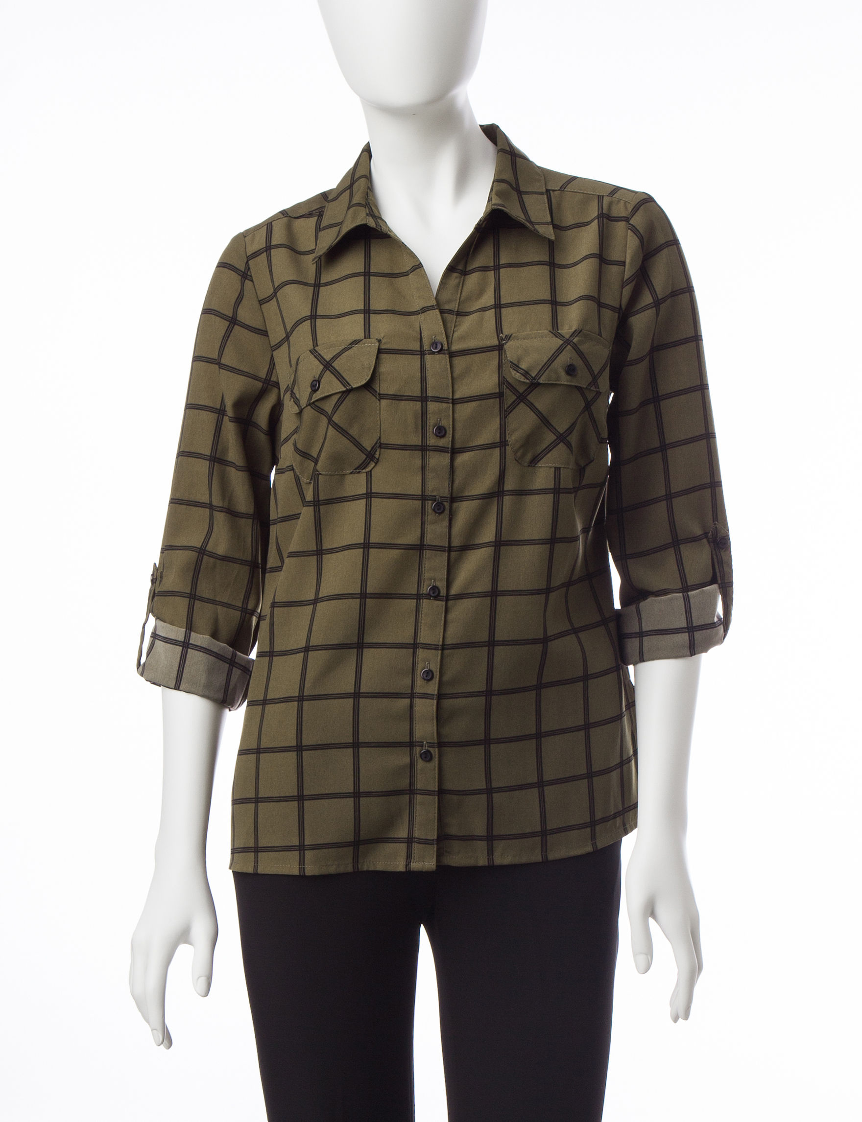 NY Collection Olive Shirts & Blouses