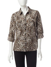 NY Collection Petite Cheetah Print Utility Top