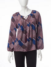 Valerie Stevens Petite Patch Print Top