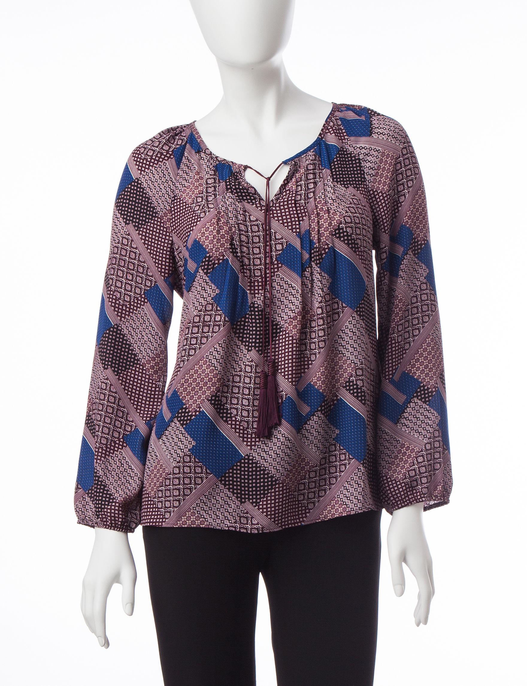 Valerie Stevens Beige / Blue Shirts & Blouses