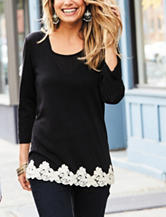 Hannah Petite Crochet Trimmed Top