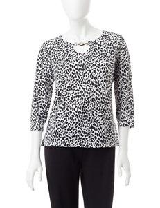Cathy Daniels Petite Cheetah Print Embellished Top