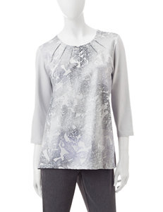 Alfred Dunner Grey Shirts & Blouses