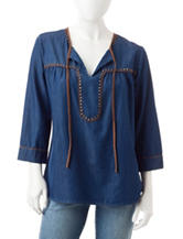 Hannah Petite Faux Suede Trim Chambray Top