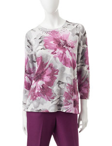 Alfred Dunner Purple Floral Shirts & Blouses