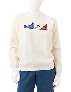 Rebecca Malone Petite Embroidered Birds Fleece Sweater
